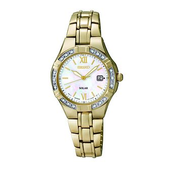 Seiko Solar Ladies' Diamond Set Gold Plated Bracelet Watch - Product number 9573259