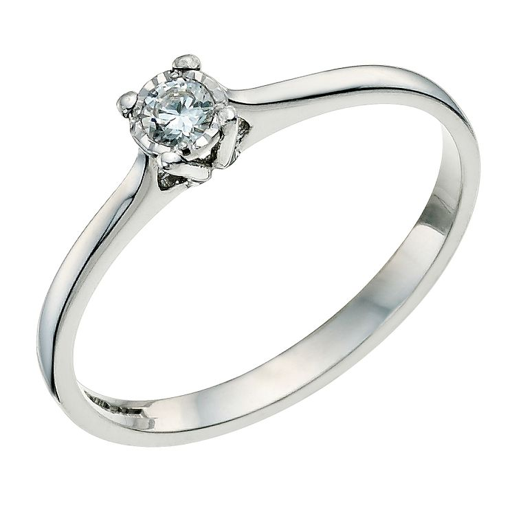 9ct White Gold Diamond Solitaire Ring - Product number 9578900
