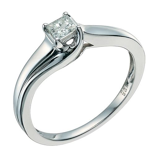 9ct white gold ring 1/4 carat princess cut diamond wrap ring - Product number 9579745