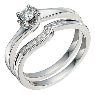Argentinium Silver 1/4 Carat Diamond Bridal Set - Product number 9583629