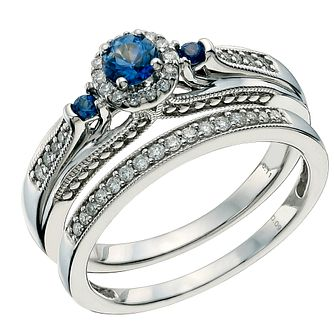 Perfect Fit 9ct White Gold Sapphire & Diamond Bridal Set - Product number 9585451