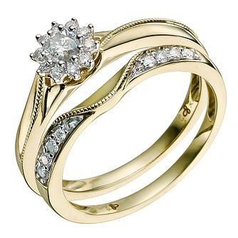 9ct Yellow Gold 1/3 Carat Diamond Bridal Set   Product Number 9585990