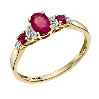 9ct Yellow Gold Diamond & Treated Ruby Ring - Product number 9587977