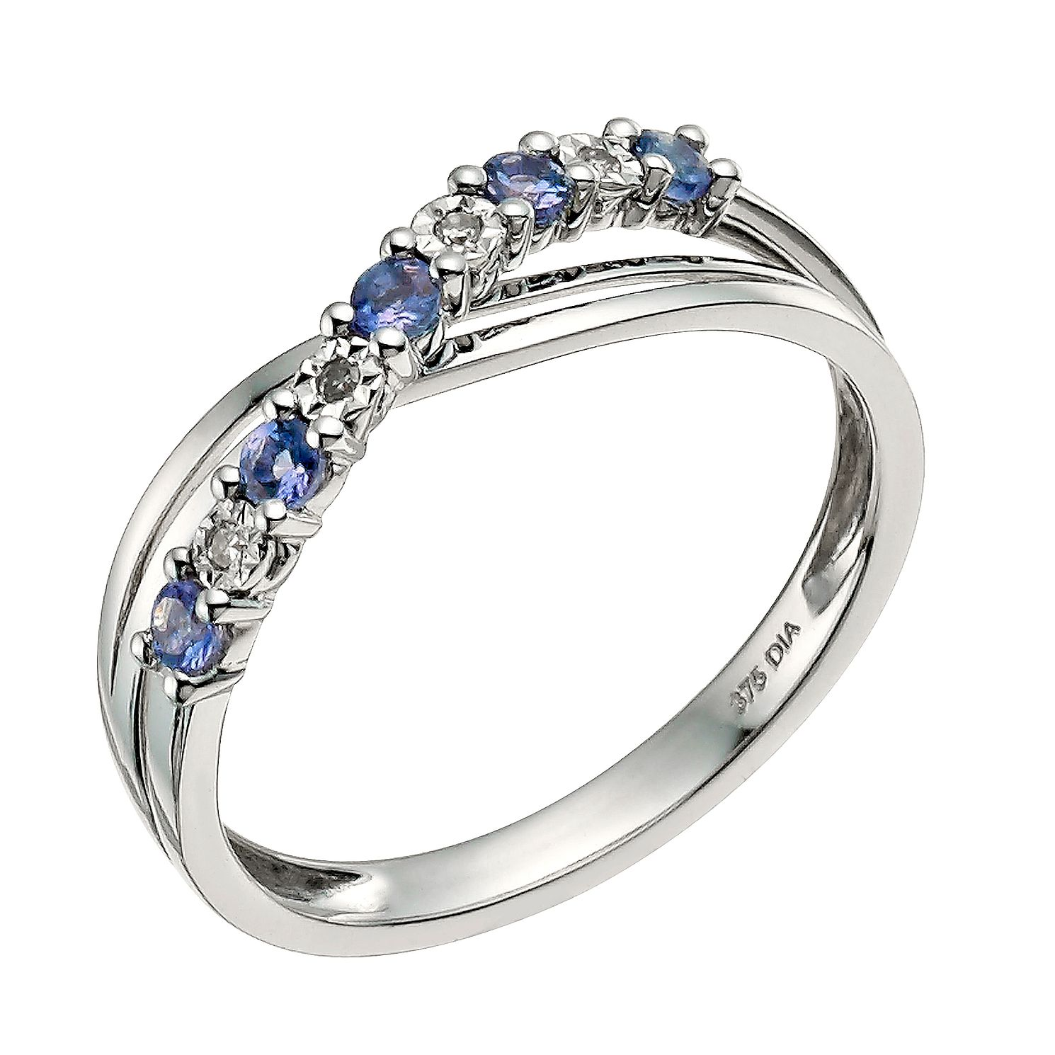 round rings loop wedding engagement white diamond blue ring curved gold tanzanite