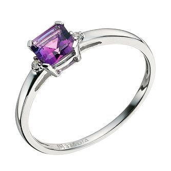 9ct White Gold Diamond & Amethyst Ring - Product number 9589694