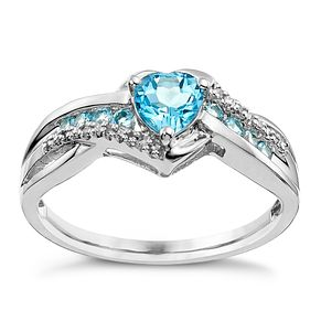 Argentium Silver Blue Topaz & Diamond Heart Ring - Product number 9591672