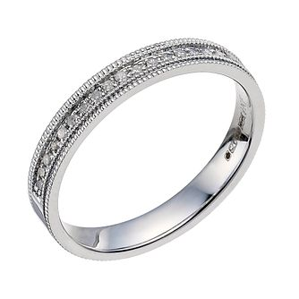 9ct White Gold Diamond & Milgrain Wedding Ring - Product number 9594744