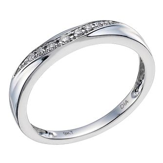 9ct White Gold & Diamond Shaped Band - Product number 9597840