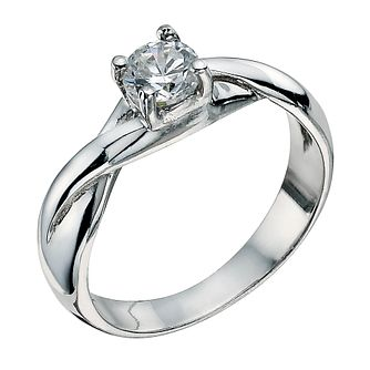 Sterling Silver 4 Claw Cubic Zirconia Ring Size P - Product number 9598693