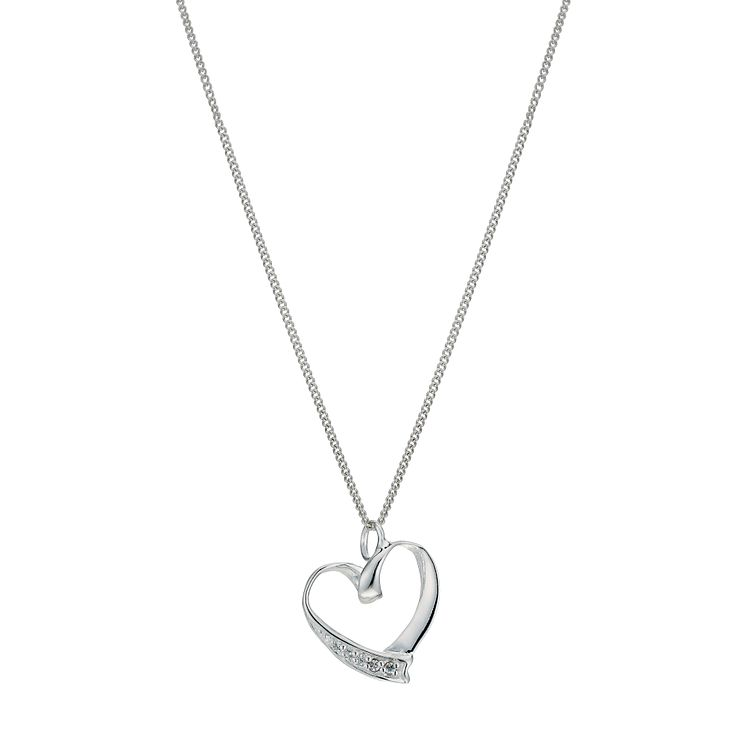 Silver Cubic Zirconia Heart Pendant - Product number 9600167