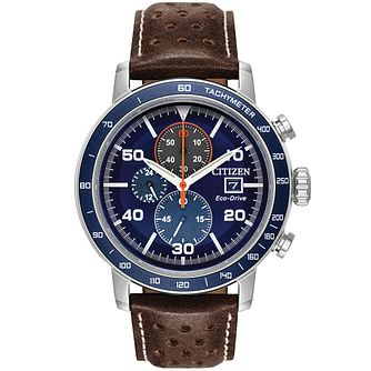 Citizen Men's Brown Leather Blue Chronograph Strap Watch - Product number 9602658