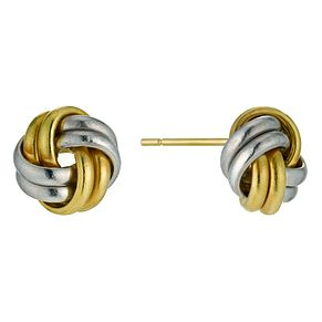 9ct yellow & white gold knot earrings - Product number 9606149