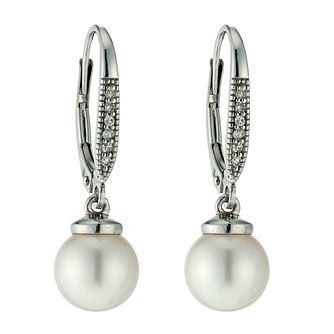 9ct Gold Cultured Freshwater Pearl & Diamond Drop Earrings - Product number 9606181