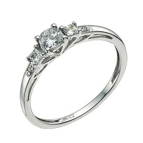 9ct White Gold Cubic Zirconia Trilogy Three Stone Ring - Product number 9607129