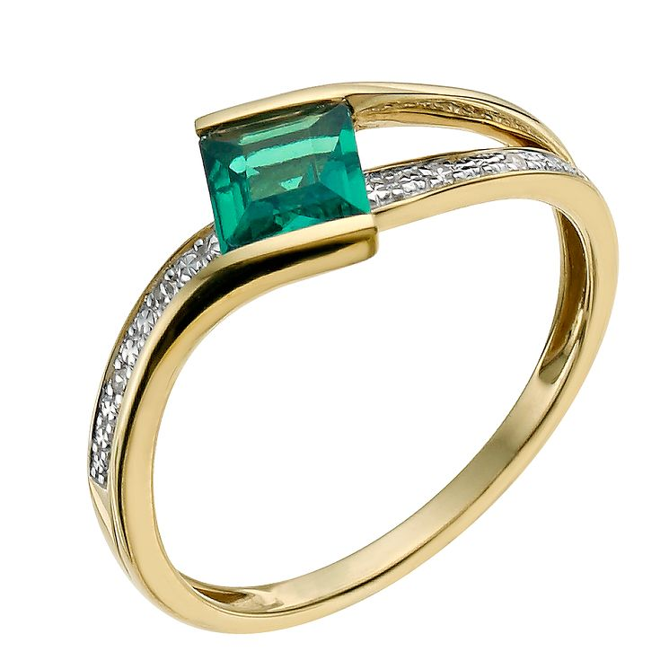 9ct Yellow Gold Diamond and Created Emerald Ring