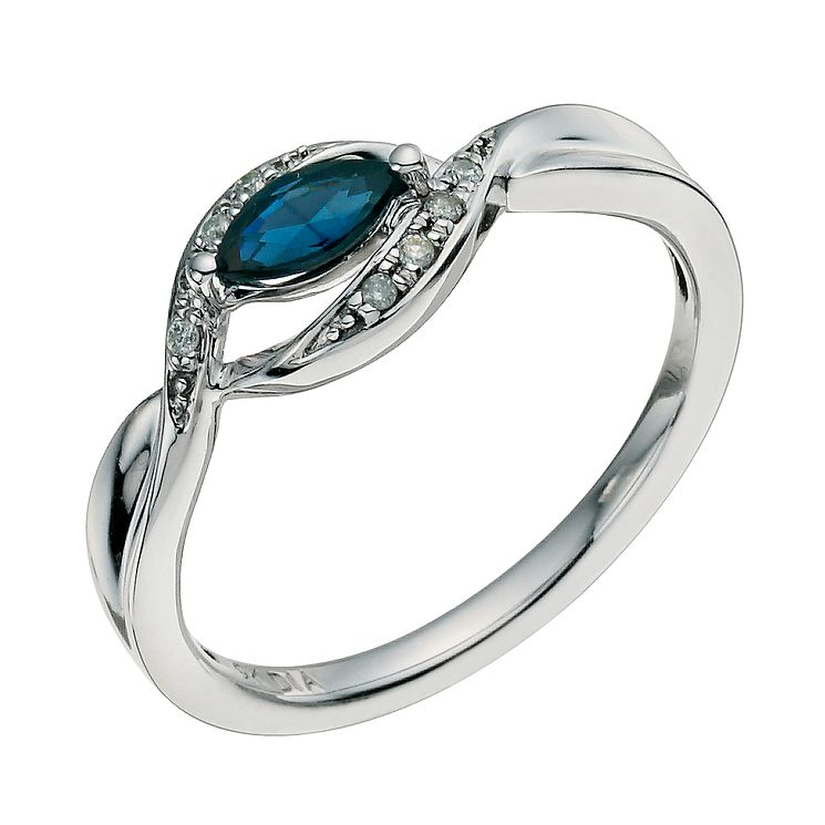 9ct white diamond & sapphire ring - Product number 9614893