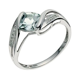 9ct white gold diamond & aquamarine ring - Product number 9615156
