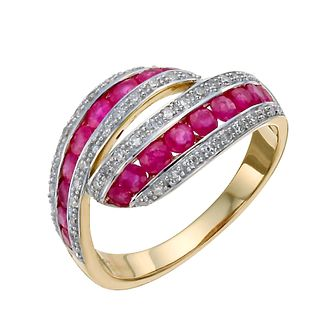 9ct yellow & white gold 0.25 ct diamond & ruby ring - Product number 9615288
