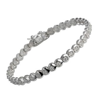 9ct white gold three 0.25ct diamond C link bracelet - Product number 9616438
