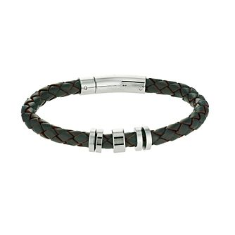 Unique men's steel and brown leather bracelet - Product number 9617175