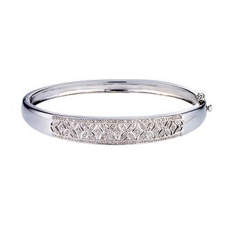 Sterling silver diamond set vintage style bangle - Product number 9621288