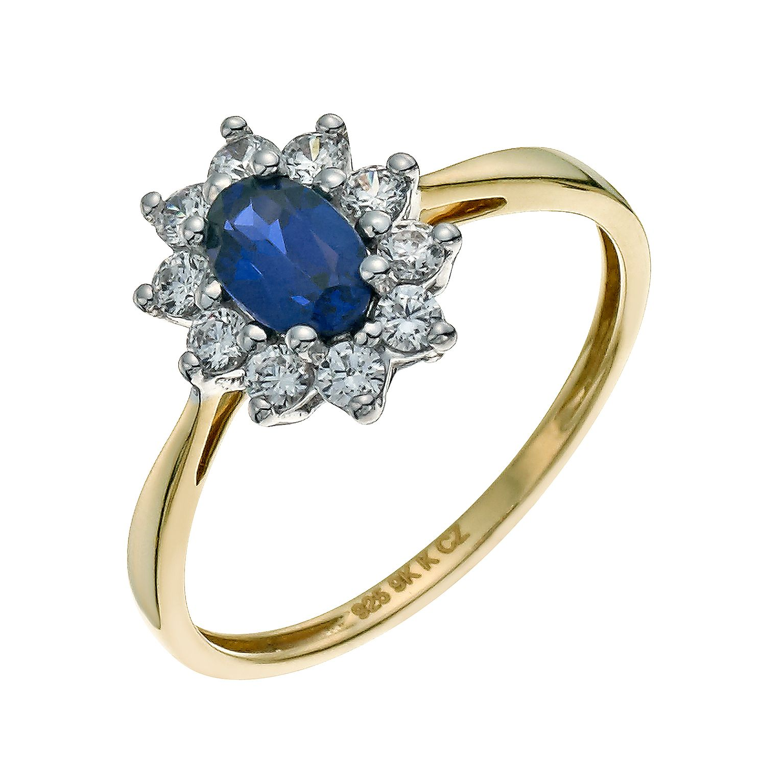 beaverbrooks large context gold ring sapphire and cluster p diamond