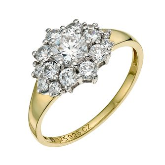 Sterling Silver & 9ct Gold Cubic Zirconia Cluster Ring - Product number 9623965