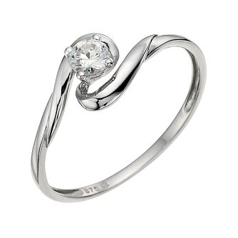 9ct White Gold Cubic Zirconia Swirl Ring - Product number 9624260