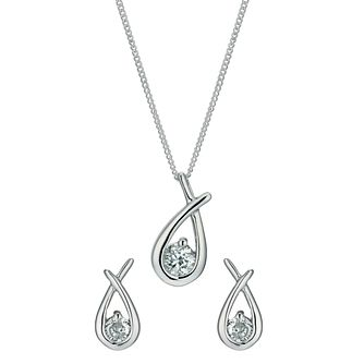 Sterling silver mini love knot pendant and earrings set - Product number 9632875