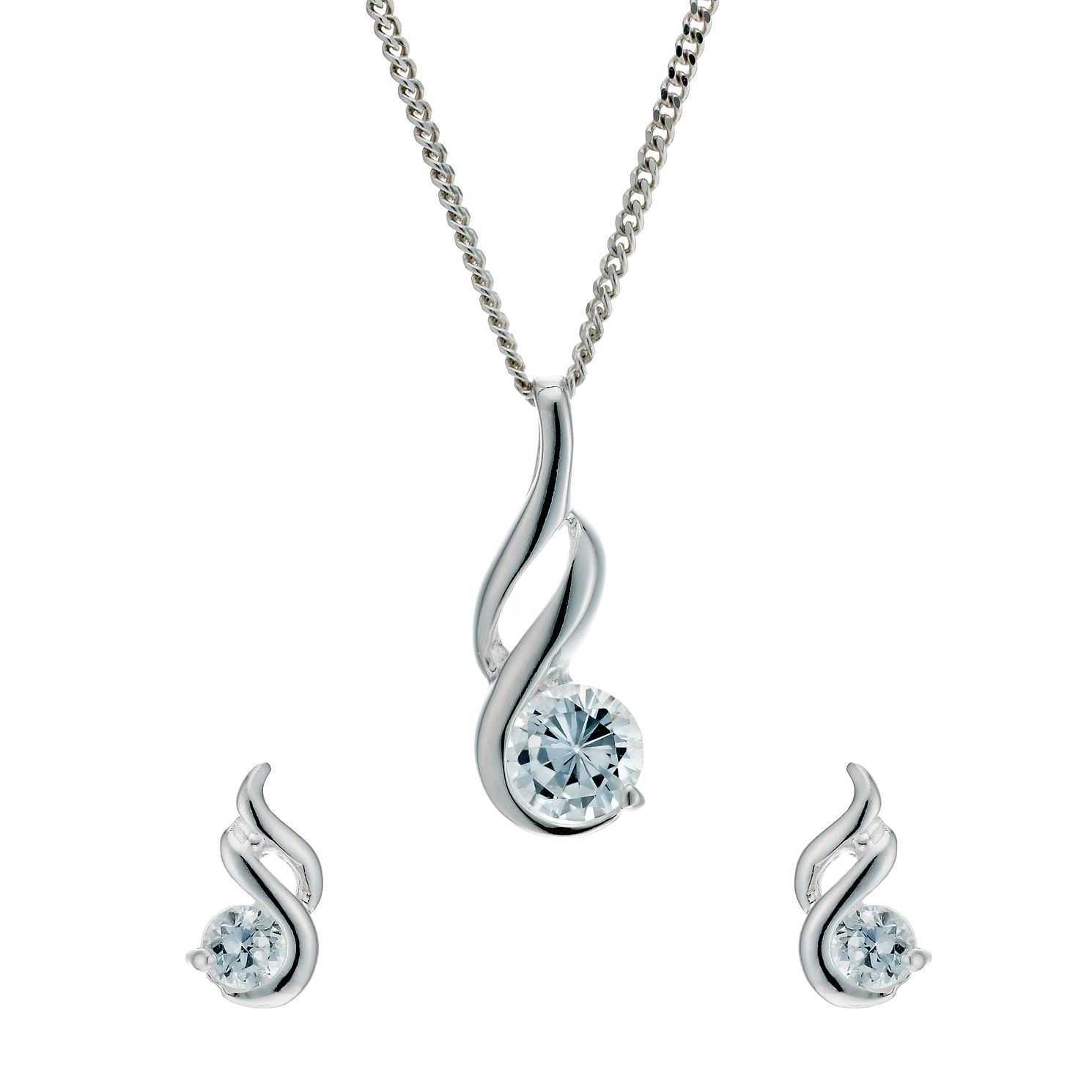 CZ Teardrop Bridal Necklace and Drop Earrings Set Rhodium Plated