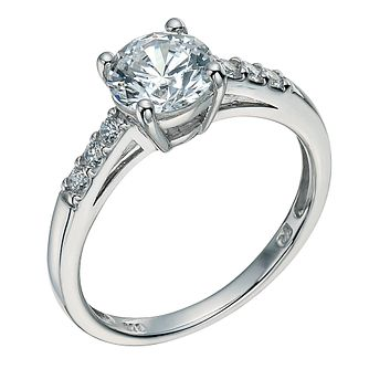 Silver cubic zirconia solitaire ring - Product number 9634517