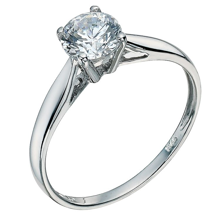Silver cubic zirconia solitaire ring - Product number 9634614