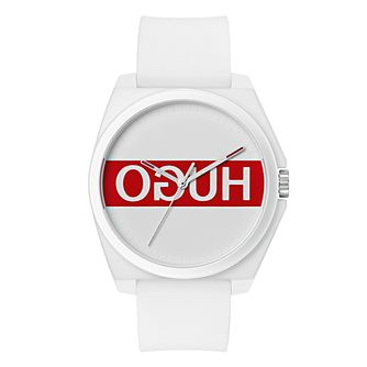 Hugo White & Red Dial White Silicone Strap Watch - Product number 9647341