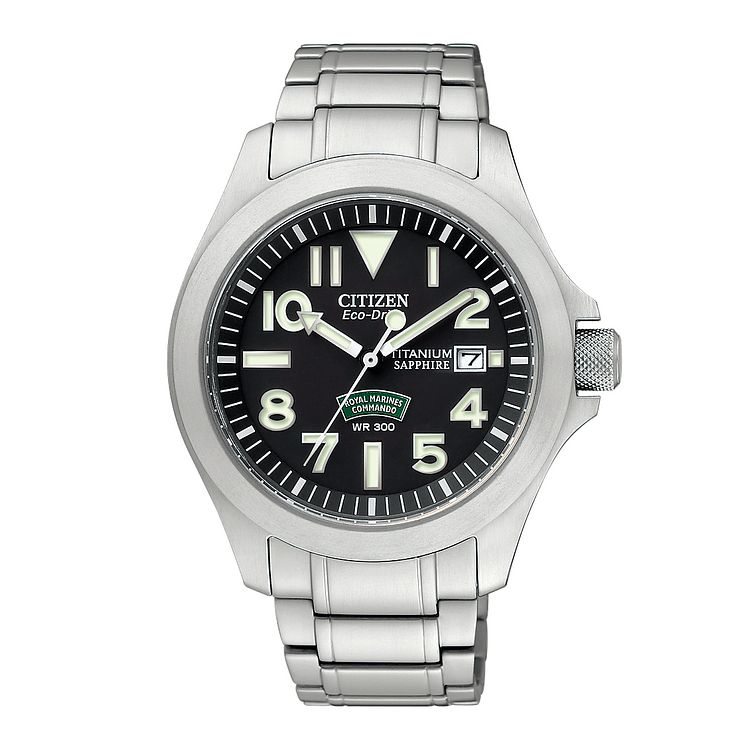 Citizen Eco Drive Royal Marines WR 300 Men's Bracelet Watch - Product number 9647368