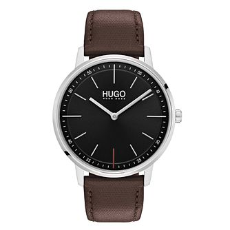 Hugo Brown Leather Black Dial Strap Watch - Product number 9647376