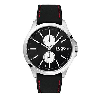 Hugo Black Dial Black and Red Silicone Bracelet Watch - Product number 9647449