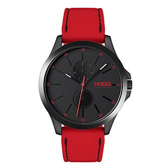 Hugo Black Dial Red Silicone Strap Watch - Product number 9647457