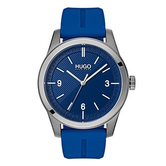 Hugo Black & White Dial Blue Silicone Strap Watch - Product number 9647562