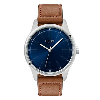 Hugo Brown Leather Blue Dial Strap Watch - Product number 9647686