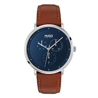 Hugo Brown Leather Blue Dial Strap Watch - Product number 9647694