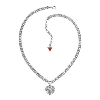 Guess Adjustable Rhodium Plated Crystal Heart Pendant - Product number 9653473