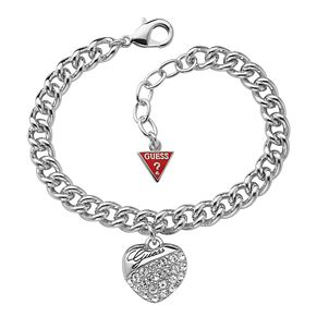 Guess Adjustable Rhodium Plated Crystal Heart Charm Bracelet - Product number 9653880