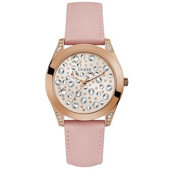 Guess Ladies' Rose Gold Stone Dial Pink Strap Watch - Product number 9654100