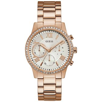 Guess Ladies' Crystal White Dial Rose Gold Watch - Product number 9654127