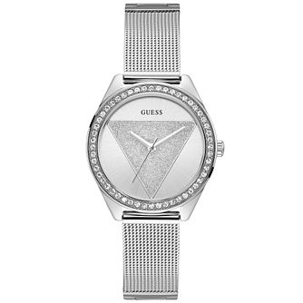 Guess Ladies' Silver Glitz Logo Dial Silver Watch - Product number 9654178