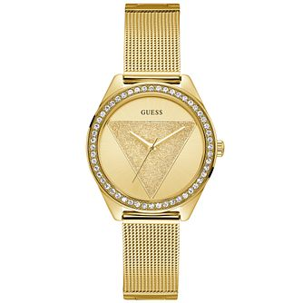 Guess Ladies' Gold Glitz Logo Dial Gold Watch - Product number 9654186