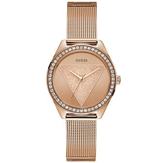 Guess Ladies' Rose Gold Glitz Logo Dial Watch - Product number 9654194
