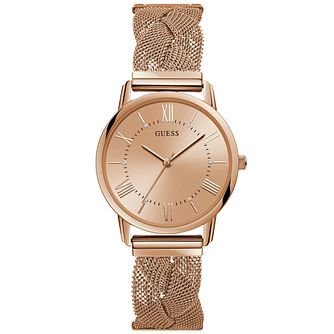 Guess Ladies' Braided Mesh Bracelet Rose Gold Watch - Product number 9654224