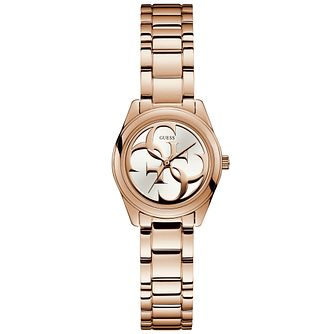 Guess Ladies' White Logo Dial Rose Gold Watch - Product number 9654739
