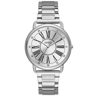 Guess Ladies' Silver Roman Numeral Dial Silver Watch - Product number 9654747